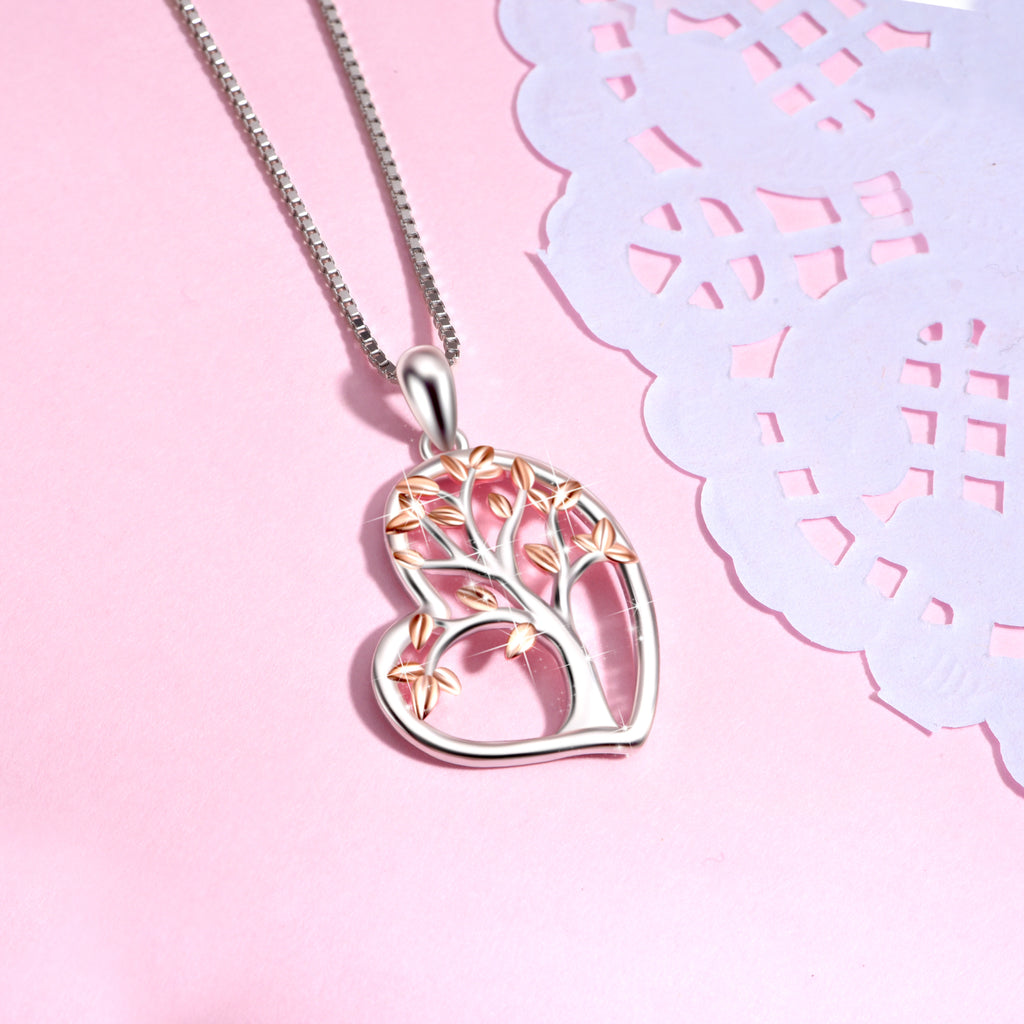 925 Sterling Silver Love Heart Shiny Tree Pendant Lucky Necklace
