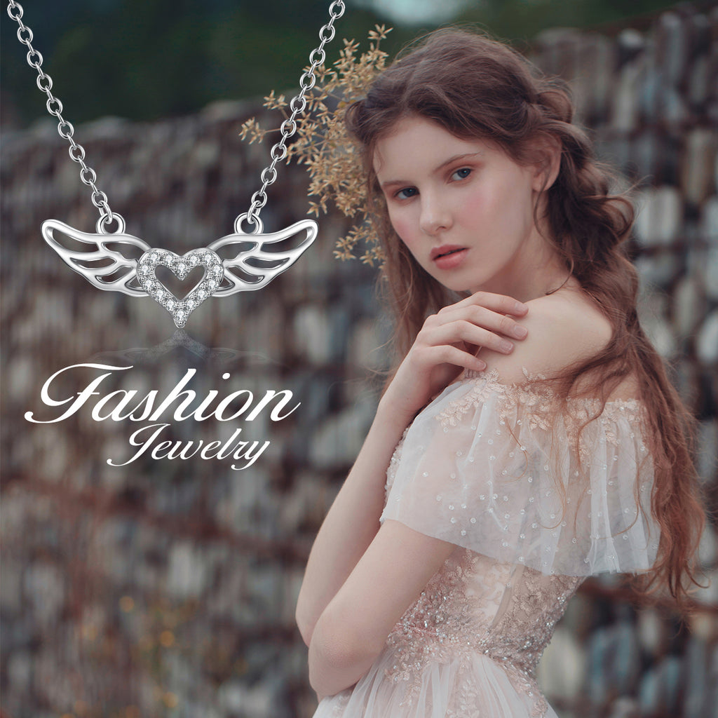 925 Sterling Silver Angel Wing Love Heart Jewels Necklace