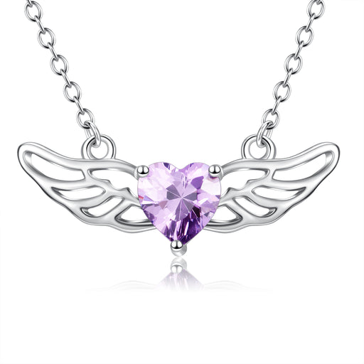 925 Sterling Silver Angel Wing Purple Heart Swarovski Crystal Necklace