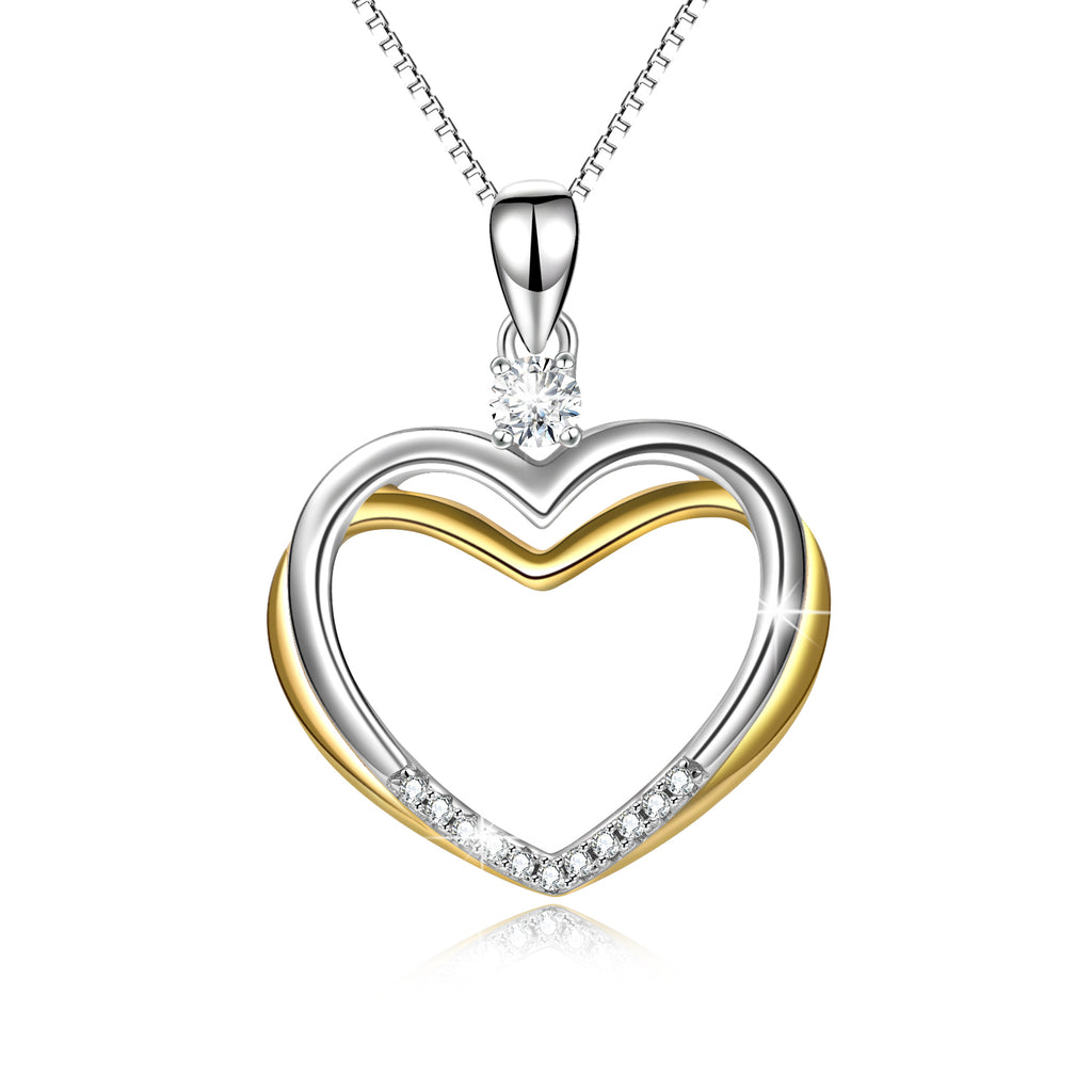 925 Sterling Silver Two-Tone Double Love Heart Cubic Zircon Necklace