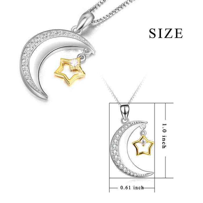 925 Sterling Silver Cubic Zircon Crescent Star Attract Necklace