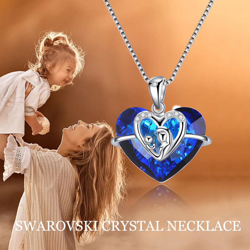 925 Sterling Silver Mother Daughter Necklace with Swarovski Crystals