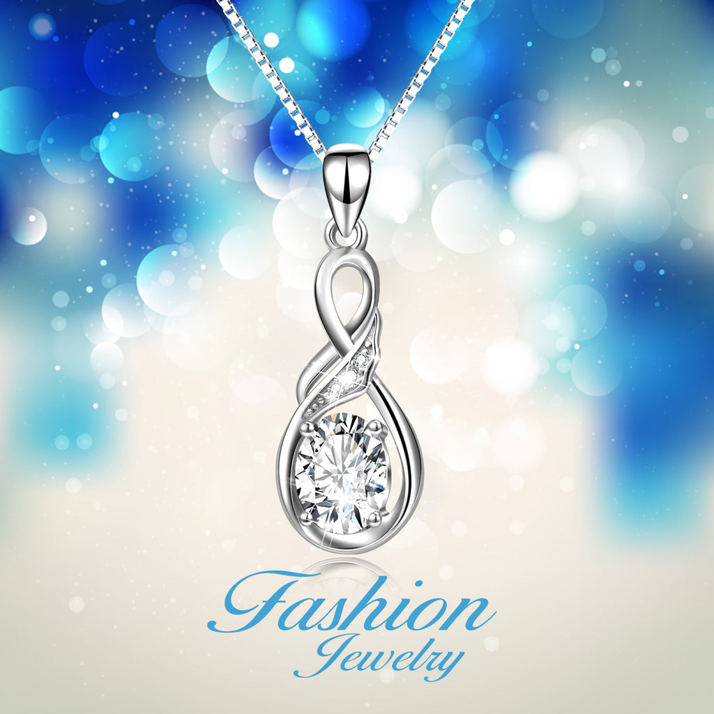 925 Sterling Silver Infinity Elegant Fine Jewels Pendant Necklace