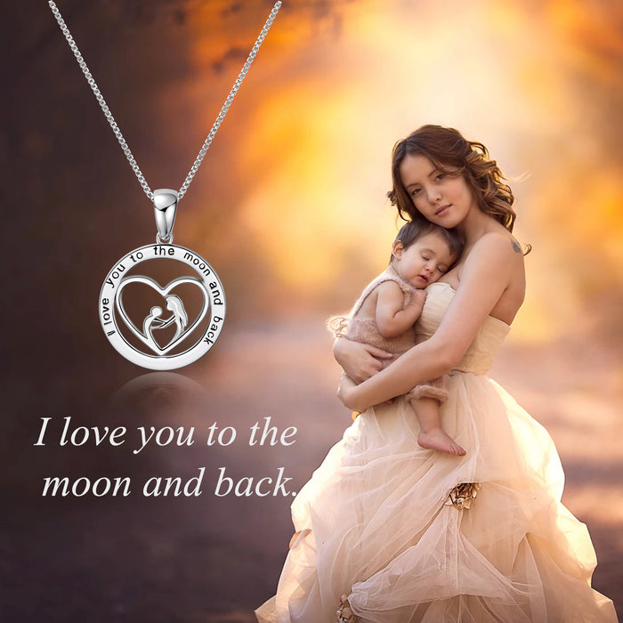 Mother's Love is Forever-Love Heart Pendant Necklace