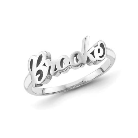 10K/14K Gold Personalized Script Letters Name Ring