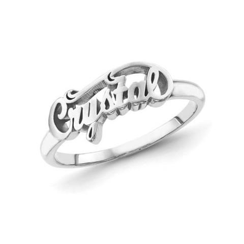 """Crystal""-10K/14K Gold Personalized Script Letters Name Ring"