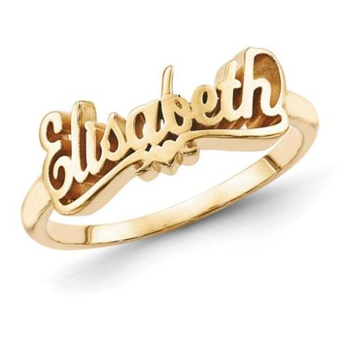 10K/14K Gold Personalized Script Letters Name Ring with Heart