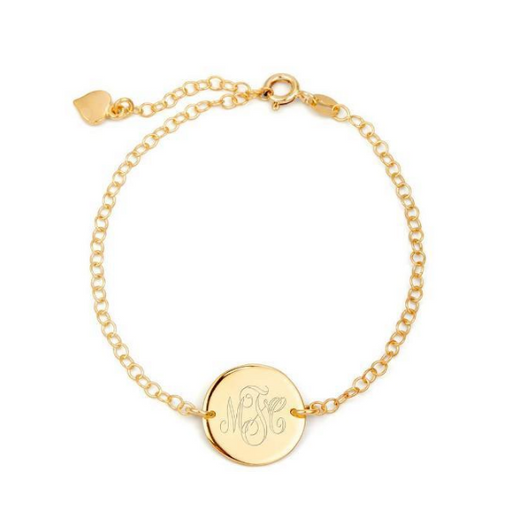 925 Sterling Silver Personalized Engraved Monogram Disc Bracelet