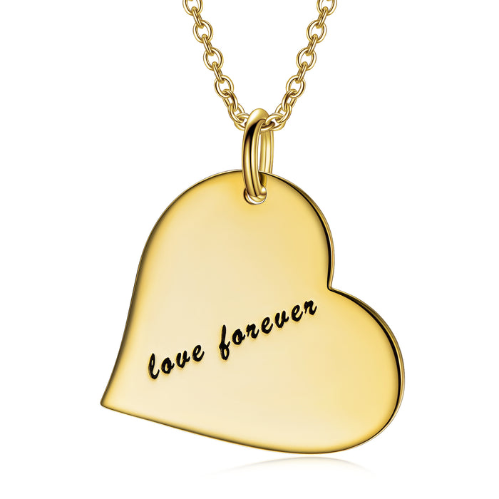 "Forever In My Heart - Copper/925 Sterling Silver Personalized Love Heart Necklace Adjustable 16""-20"""