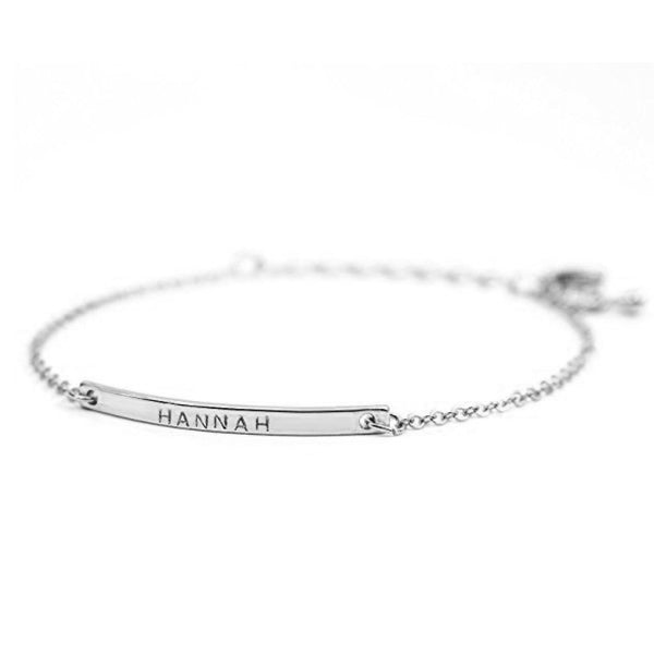 "925 Sterling Silver Personalized Bar Engraved Bracelet Adjustable 6""-7.5"""