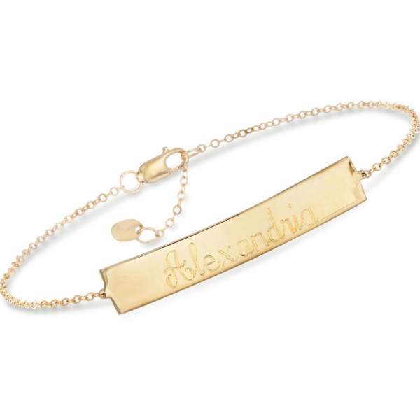 "14K Gold Personalized Name Bar Bracelet Length Adjustable 6""-7.5"""