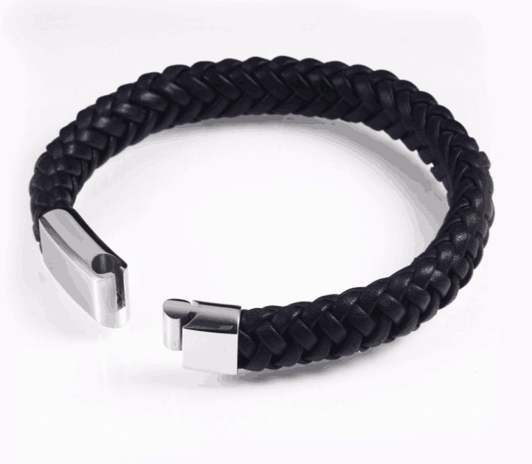 Leather Rope Personalized Bracelet with Stainless Steel Button
