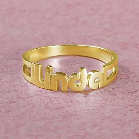 """Linda"" Style-Copper/Sterling Silver Personalized  Name Ring-White Gold /Yellow Gold Plated"