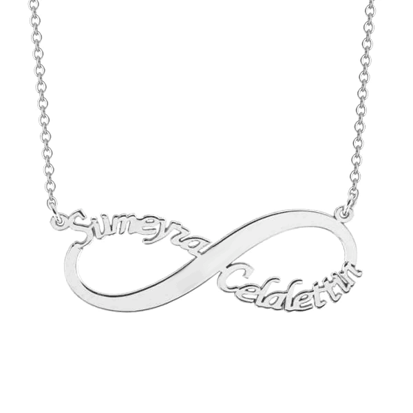 "925 Sterling Silver Personalized Infinity Name Necklace Adjustable 16""-20"