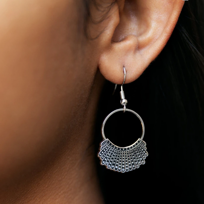 925 Sterling Silver RBG Dissent Collar Hook and Hoop Earrings