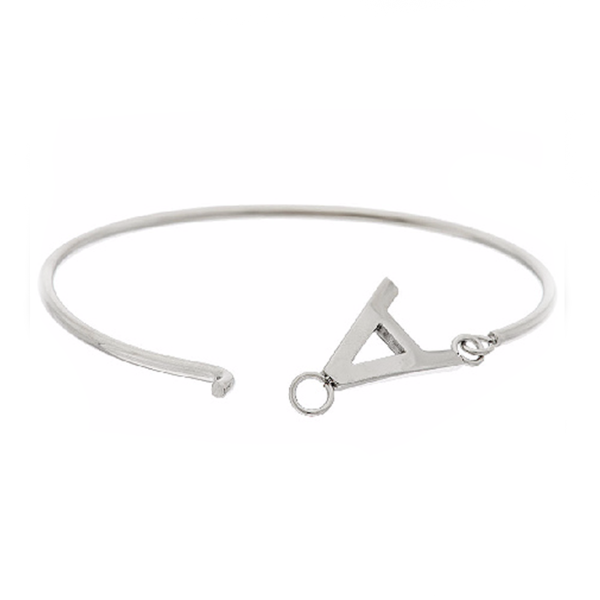 925 Sterling Silver Personalized Block Initial Bangle