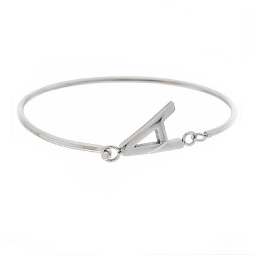 Personalized Block Initial Bangle in 925 Sterling Silver