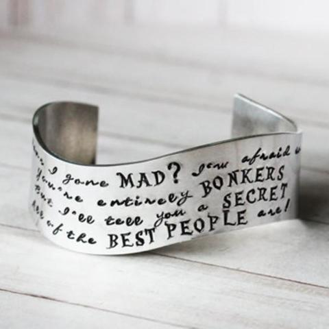 Alice in Wonderland Have I Gone Mad Cuff Bangle Personalized 925 Sterling Silver-White Gold Plated