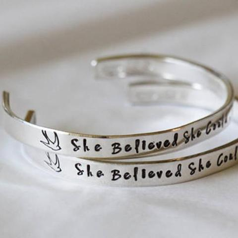 Personalized  Hand Stamped Cuff Bangle 925 Sterling Silver -White Gold Plated
