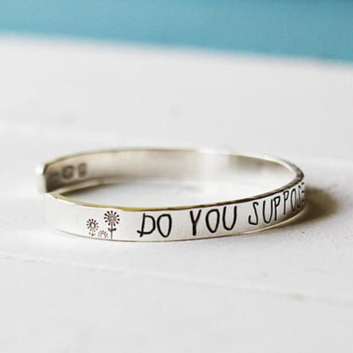 Do You Suppose She is a Wildflower cuff -Personalized Bangle 925 Sterling Silver-White Gold Plated