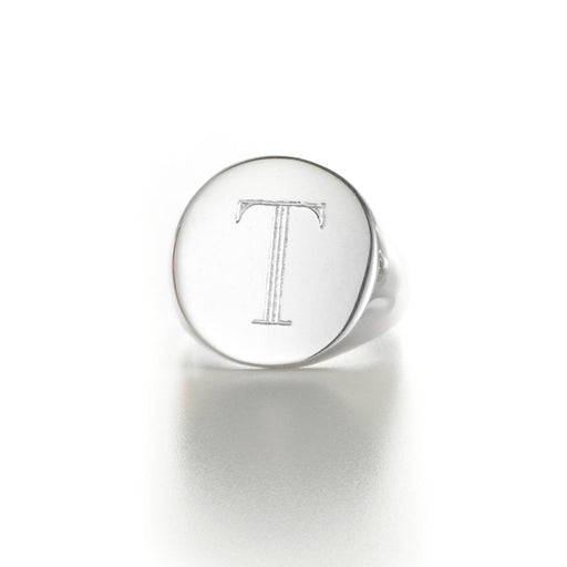 925 Sterling Silver Personalized Round Engraved Ring