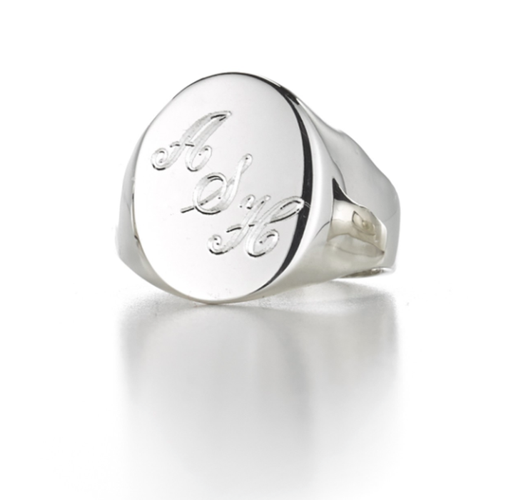 Sterling Silver Personalized Oval Angled Signet Engraved Ring