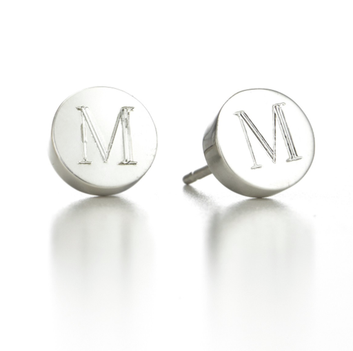 Sterling Silver Personalized Round  Initial Mini Alphabet Stud Earrings