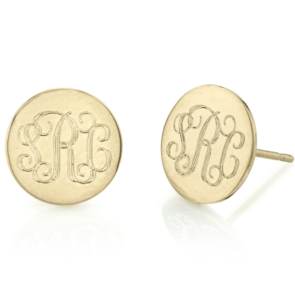 Sterling Silver Personalized Round Monogram Earrings