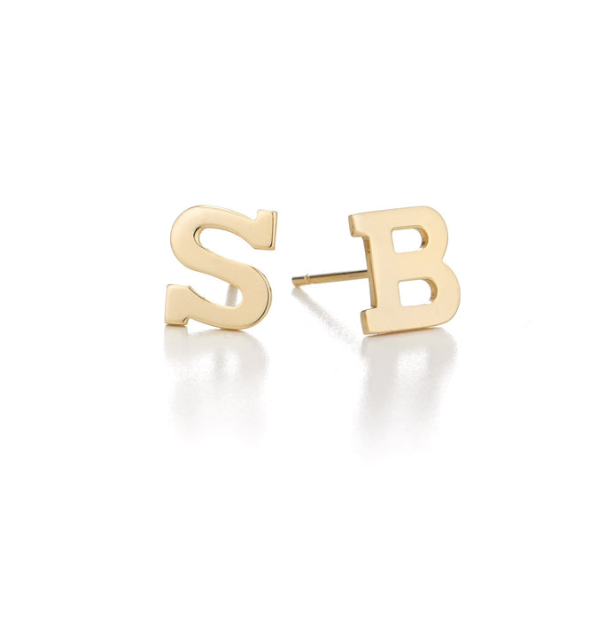 Sterling Silver Personalized Mix/Match Initial Alphabet Earrings