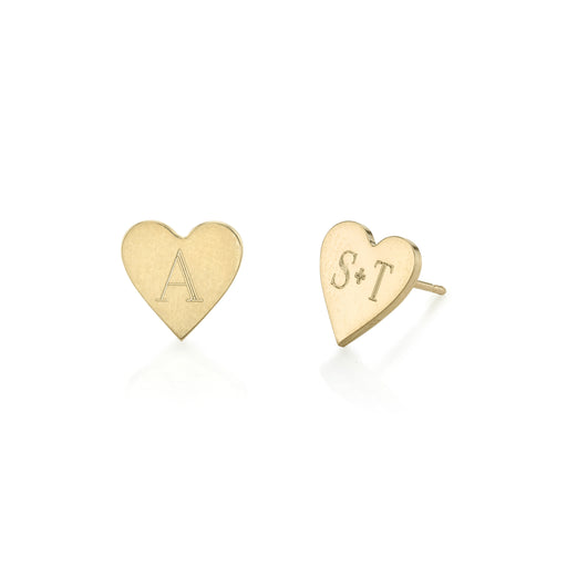 Personalized Sterling Silver Mix/Match Love Heart Alphabet Stud Earrings