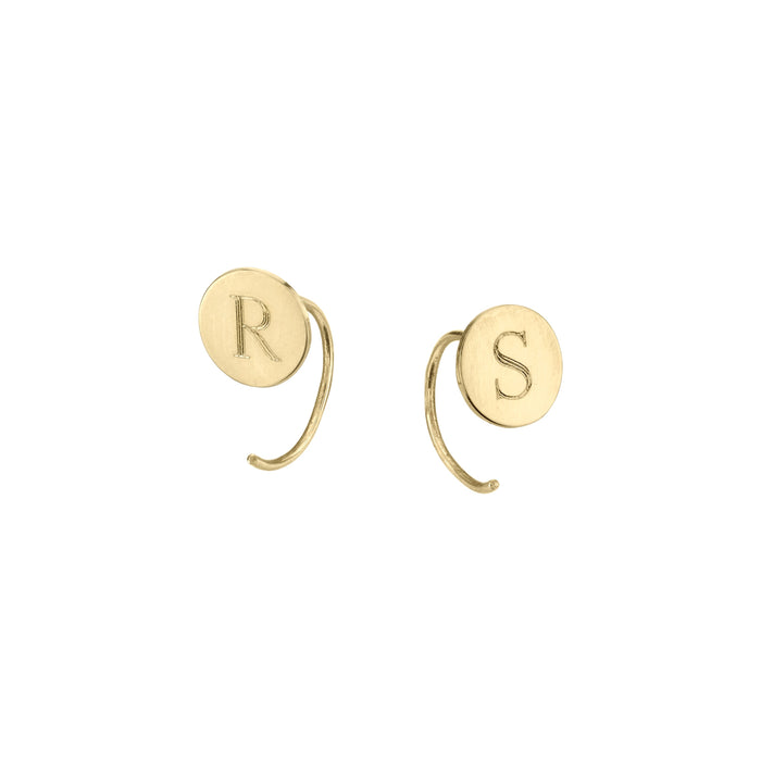 Sterling Silver Personalized Round Initial Alphabet Earrings