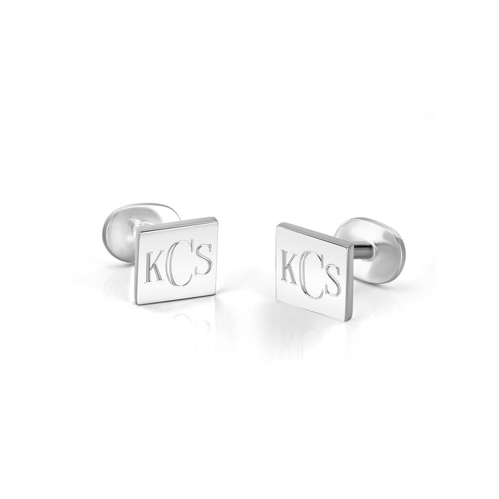 Sterling Silver Personalized Square Cuff-link Alphabet Earrings
