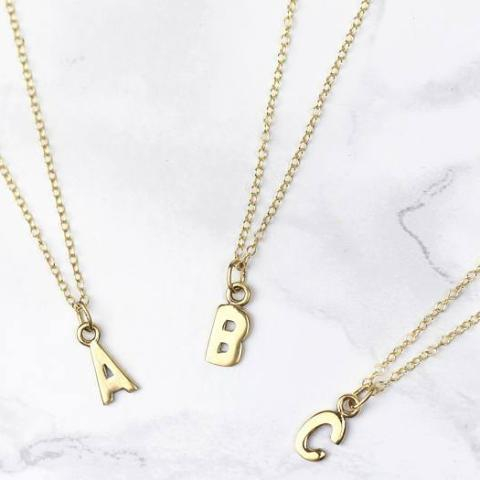 "Copper Personalized Custom Tiny Gold Initial Necklace Adjustable 16""-20"" Yellow Gold Plated"
