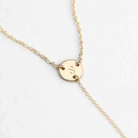 "925 Sterling Silver Personalized Custom Initial Y Choker Engraved Necklace Adjustable 16""-20"" -Yellow Gold Plated"