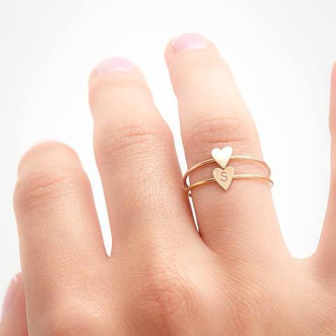 Copper/925 Sterling Silver Personalized Heart Ring -Yellow Gold Plated