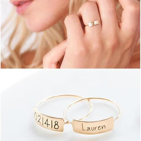 925 Sterling Silver Personalized Engraved Ring - White Gold /Yellow Gold Plated