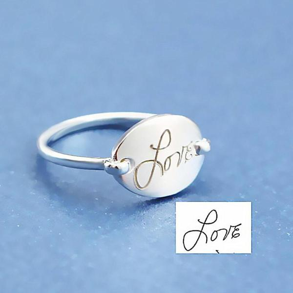 925 Sterling Silver Personalized Signature Engraved Oval Ring