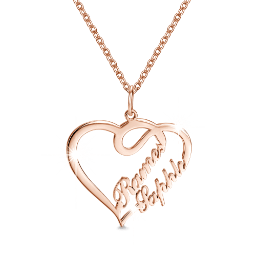 "Double Names-Copper/925 Sterling Silver Personalized Heart Name Necklace -Adjustable 16""-20"""