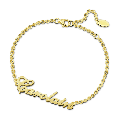"14K Gold Personalized Name Bracelet Length Adjustable 6""-7.5"""