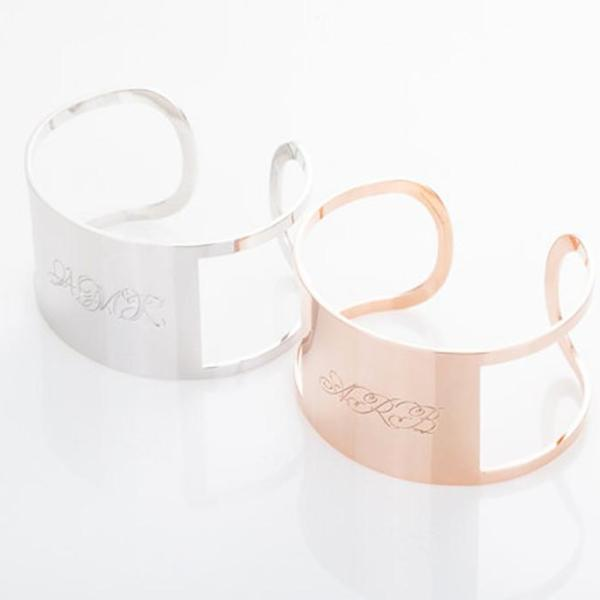 "925 Sterling Silver Personalized Monogram Cuff Bracelet Adjustable 6""-7.5""-White Gold/Rose Gold Plated"