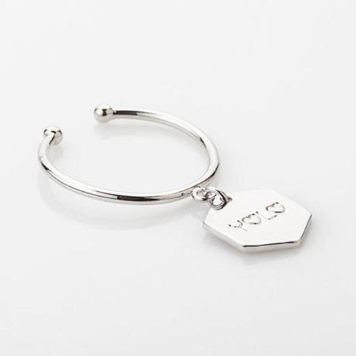 925 Sterling Silver Personalized Name Charm Open Ring -White Gold Plated