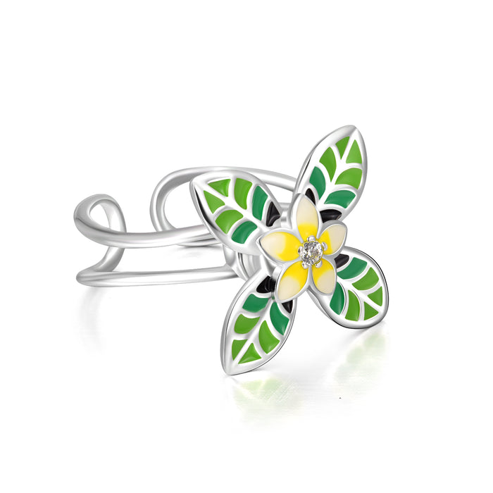 925 Sterling Silver Four-Leaf Clover Flower Ring