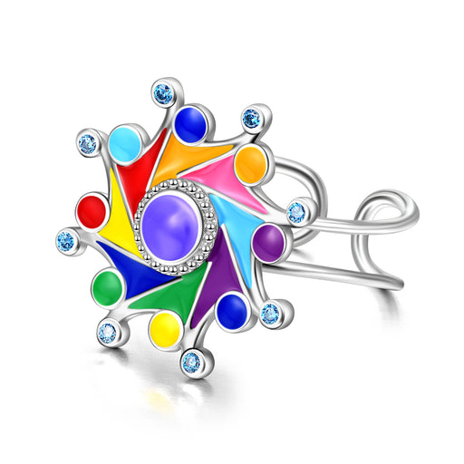 925 Sterling Silver Super Cool Eight Color Windmill Birthstones Ring