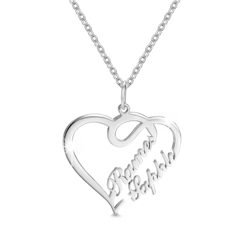 """658af7c457afeb Double Names-Copper/925 Sterling Silver Personalized Heart Name Necklace  -Adjustable 16"""""""