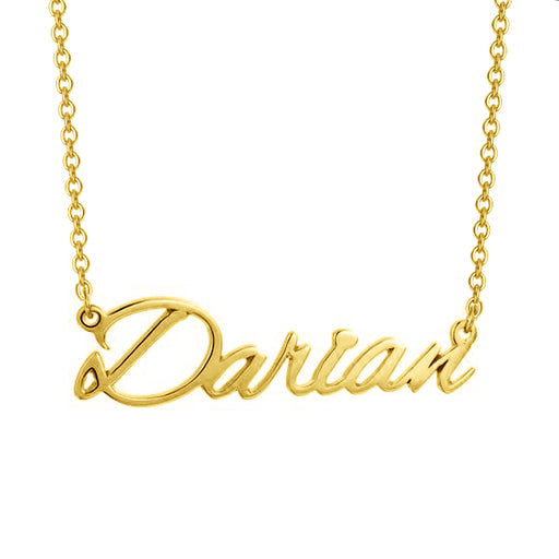 "Darian - Copper/925 Sterling Silver/10K/14K/18K Custom Name Necklace Adjustable 16""-20"" - Yellow Gold Plated"