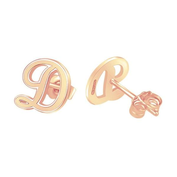 925 Sterling Silver Personalized Script Initial Stud Earrings