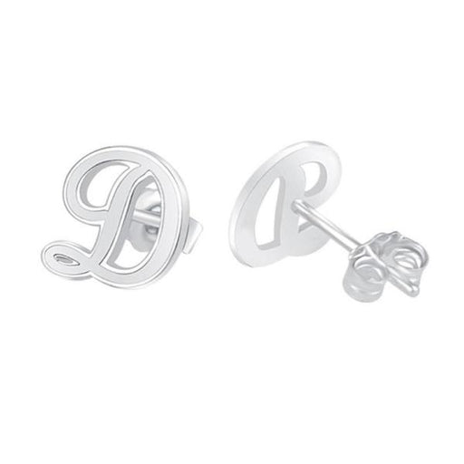 10K/14K Gold Personalized Script Initial Stud Earrings