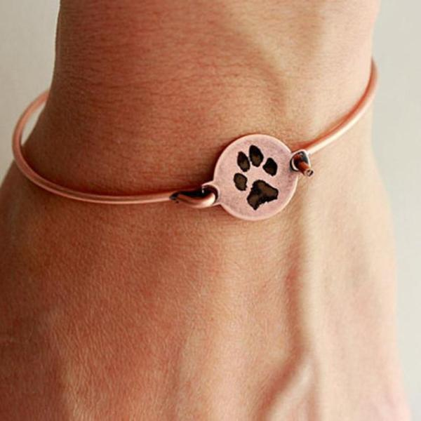 Engraved Pet Memorial-Personalized 925 Sterling Silver Name Bangle-Rose Gold Plated