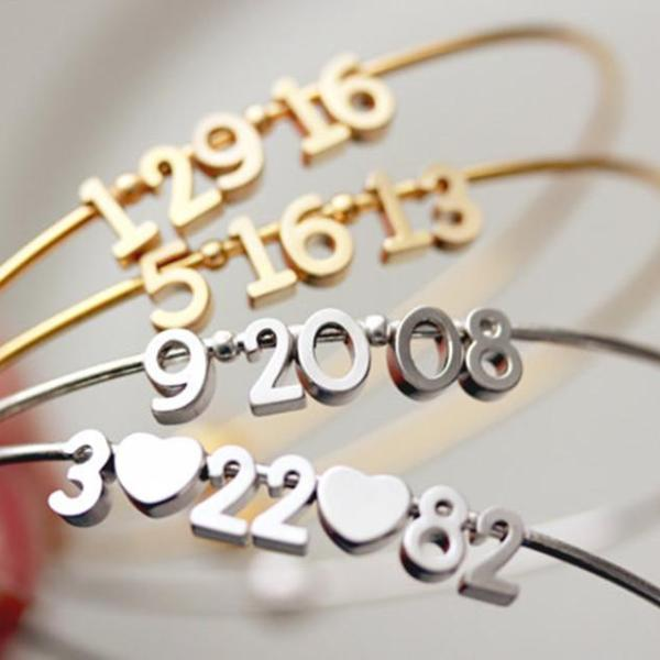 925 Sterling Silver Personalized Date  Bracelet-White Gold/Yellow Gold Plated