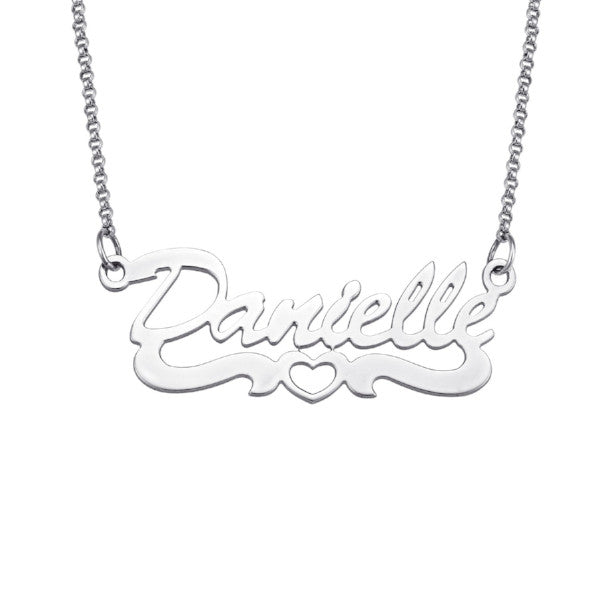 "925 Sterling Silver Personalized Open Heart Script Name Necklace Adjustable Chain 16""-20"""